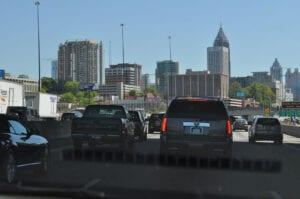 Der var lidt mere end 2 vognbaner gennem Atlanta...